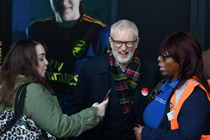 Jeremy Corbyn campaigns outside Finnsbury Park station in north London on Monday (AFP via Getty Images)