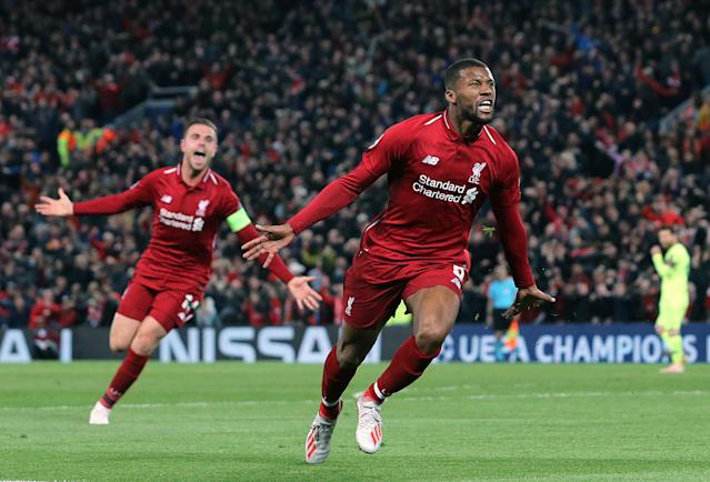 Liverpool's Georginio Wijnaldum celebrates scoring his side's third goal during the UEFA Champions League Semi Final second leg match between Liverpool and Barcelona at Anfield on May 7, 2019 in Liverpool, England. (Photo by Rich Linley - CameraSport via Getty Images)