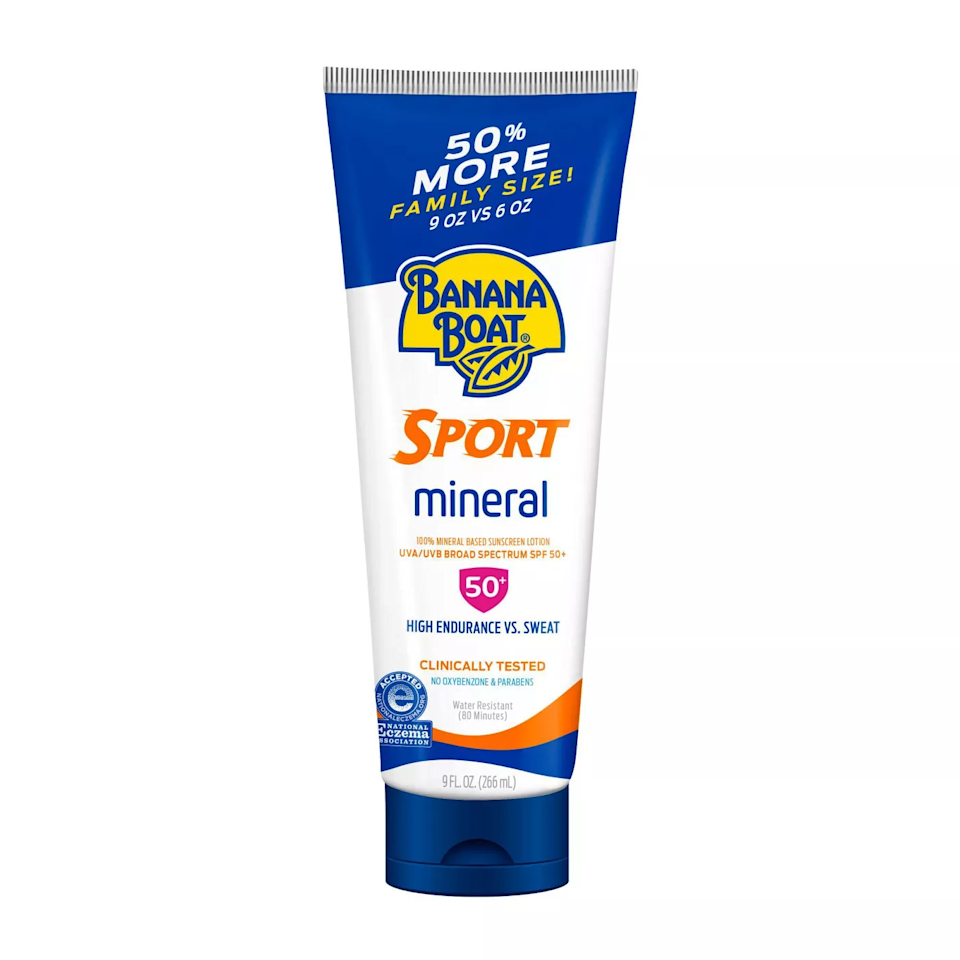 """This giant tube will last you through plenty of trips to the beach, especially since the formula is made to withstand sweat. Despite the drugstore price point, it's a great option for super-sensitive skin, and has the National Eczema Association Seal of Acceptance (it's fragrance-free as well). $11, Target. <a href=""""https://www.target.com/p/banana-boat-sport-100-mineral-sunscreen-lotion-spf-50-9oz/-/A-52603576#lnk=sametab"""" rel=""""nofollow noopener"""" target=""""_blank"""" data-ylk=""""slk:Get it now!"""" class=""""link rapid-noclick-resp"""">Get it now!</a>"""
