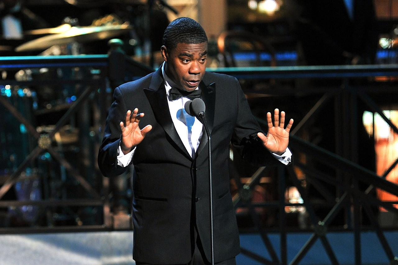 NEW YORK, NY - APRIL 28:  Comedian Tracy Morgan speaks onstage at The Comedy Awards 2012 at Hammerstein Ballroom on April 28, 2012 in New York City.  (Photo by Theo Wargo/Getty Images)