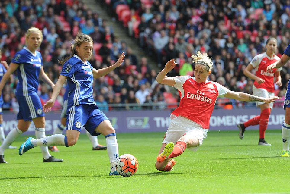 Kelly Smith in action for Arsenal in the 2016 FA Cup final against ChelseaArsenal FC via Getty Images