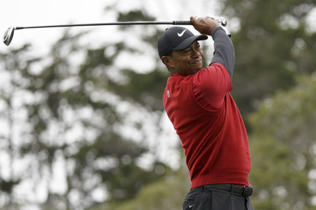 Tiger Woods watches his tee shot on the second hole during the final round of the U.S. Open Championship golf tournament, Sunday, June 16, 2019, in Pebble Beach, Calif. (AP Photo/Carolyn Kaster)