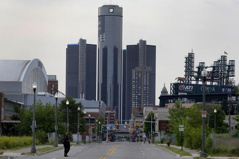 General Motors World Headquarters is seen in downtown Detroit