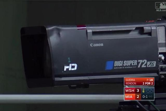 A look at the HD camera that was dented by Giancarlo Stanton's home run during their Labor Day loss to the Nationals. (MLB.TV)