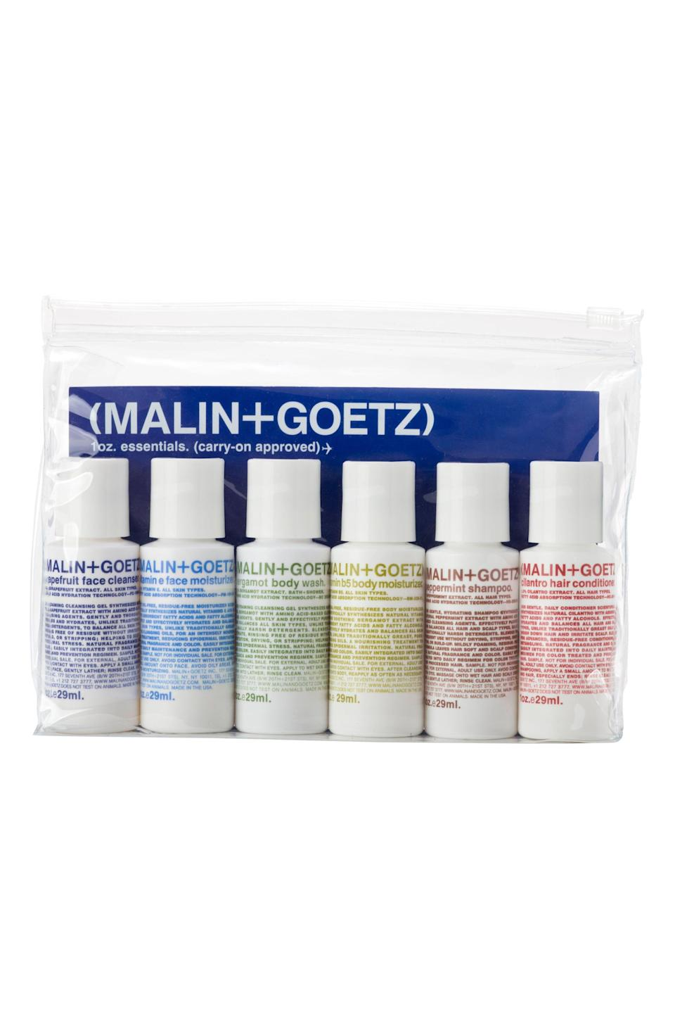 """<p><strong>MALIN+GOETZ</strong></p><p>nordstrom.com</p><p><strong>$32.00</strong></p><p><a href=""""https://go.redirectingat.com?id=74968X1596630&url=https%3A%2F%2Fshop.nordstrom.com%2Fs%2Fmalingoetz-travel-size-essential-kit%2F4486017&sref=https%3A%2F%2Fwww.oprahmag.com%2Flife%2Frelationships-love%2Fg26825396%2Fgifts-for-dad%2F"""" rel=""""nofollow noopener"""" target=""""_blank"""" data-ylk=""""slk:Shop Now"""" class=""""link rapid-noclick-resp"""">Shop Now</a></p><p>With everything from grapefruit face cleanser to peppermint shampoo and bergamot body wash, Dad won't have to skimp out on carrying his favorite wellness products on his next trip. Plus these perfectly-sized bottles are easily refillable.</p>"""