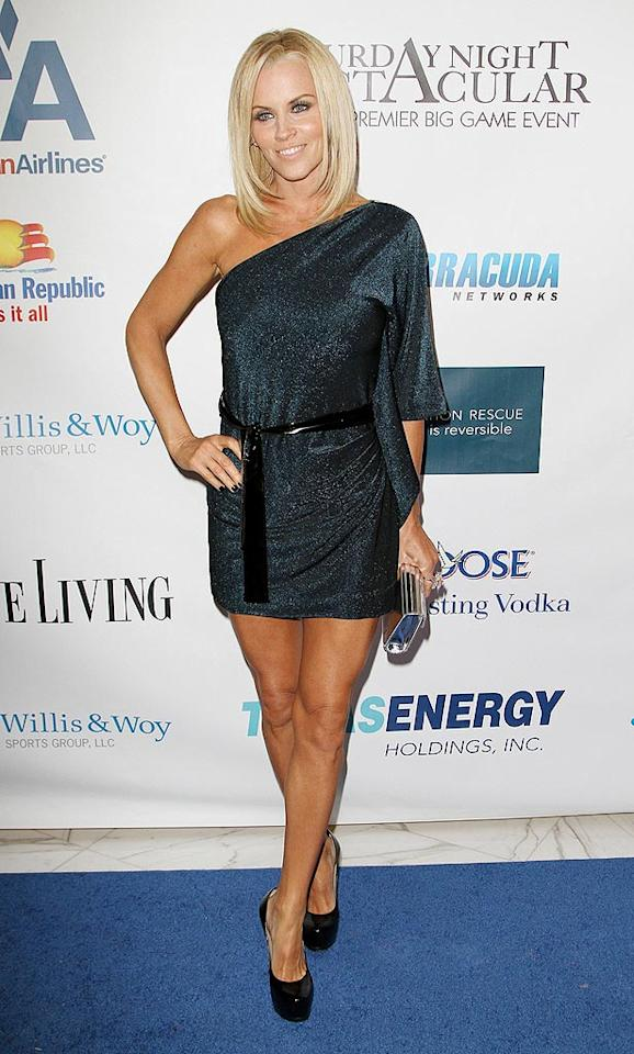 """Has Jenny McCarthy ever looked better?! We think not. The blond bombshell stopped traffic at the 4th Annual Saturday Night Spectacular in a shimmery, one-shoulder dress and Yves St. Laurent """"Trib Two"""" platform pumps. Her partner in crime, Jim Carrey, is one lucky man! Alexander Tamargo/<a href=""""http://www.gettyimages.com/"""" target=""""new"""">GettyImages.com</a> - February 6, 2010"""