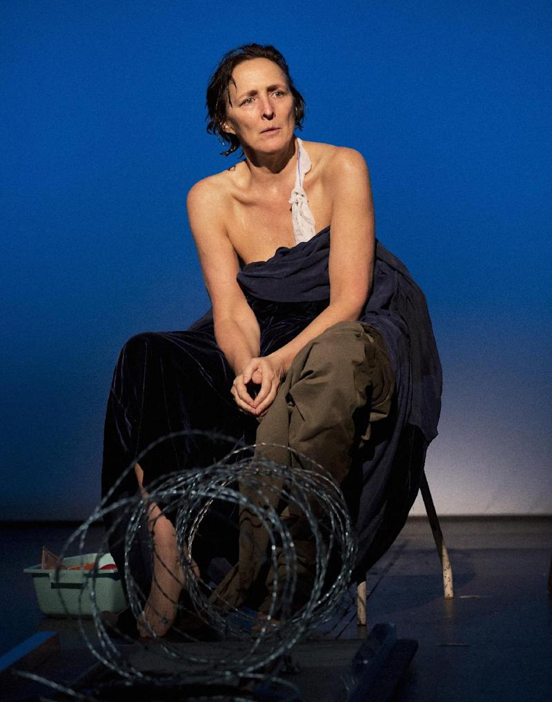 "This undated publicity photo provided by Philip Rinaldi Publicity shows Fiona Shaw as Mary in a scene from play, ""The Testament of Mary,"" by Colm Toibin, which opens Monday, April 22, 2013. The one-woman show directed Deborah Warner is currently playing a limited engagement on Broadway at the Walter Kerr Theatre in New York. (AP Photo/Philip Rinaldi Publicity, Paul Kolnik)"