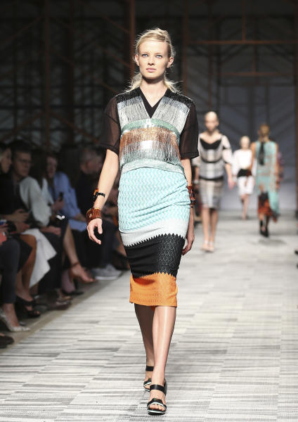 A model wears a creation for Missoni women's Spring-Summer 2014 collection, part of the Milan Fashion Week, unveiled in Milan, Italy, Sunday, Sept. 22, 2013. (AP Photo/Antonio Calanni)