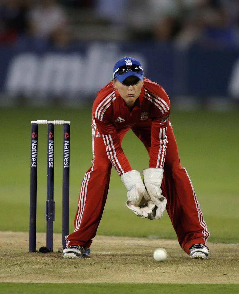 CHELMSFORD, ENGLAND - AUGUST 27: England wicketkeeper Sarah Taylor fields the ball during the first NatWest T20 match between England and Australia at the Ford County Ground on August 27, 2013 in Chelmsford, England.  (Photo by Harry Engels/Getty Images)