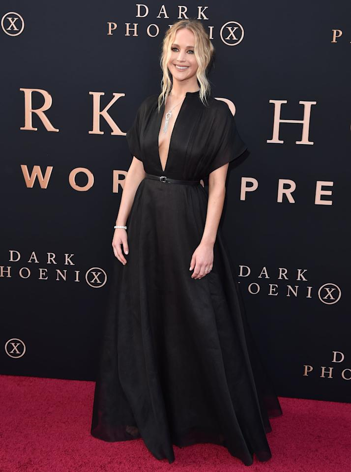 <p>At the premiere of <strong>Dark Phoenix</strong> on June 4, 2019, Jennifer wore a Dior look from the Resort 2020 collection with Giuseppe Zanotti sandals.</p>
