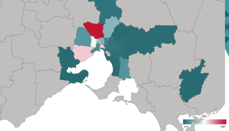 A current map of LGAs in and around the Melbourne area indicating active cases. Grey indicates zero cases. The red suburb is Hume, while the two pink suburbs are Melbourne and Wyndham LGAs. Source: DHHS