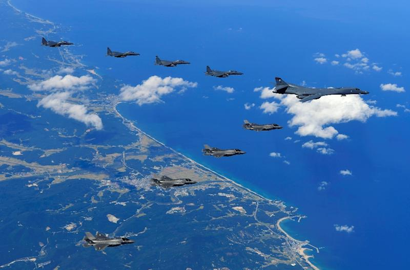 A US Air Force B-1B Lancer bomber, US F-35B stealth jet fighters and South Korean F-15K fighter jets fly over South Korea during a joint military drill (AFP Photo/handout)