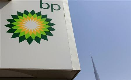 A British Petroleum (BP) logo is seen at a petrol station near the Burj Khalifa in Dubai