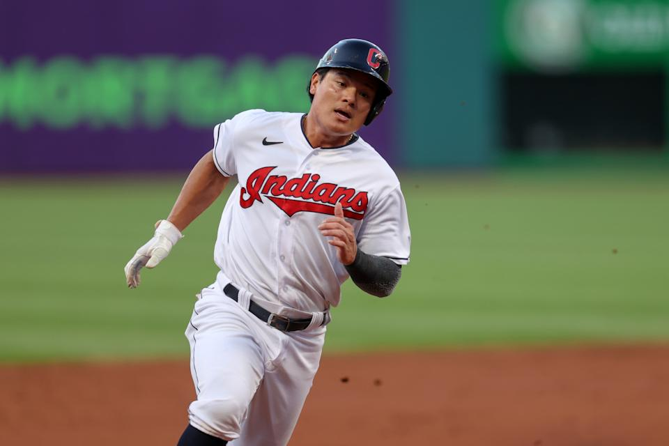CLEVELAND, OH - AUGUST 20: Cleveland Indians first baseman Yu Chang (2) rounds third base as he scores on a double hit by Cleveland Indians center fielder Myles Straw (7) (not pictured) during the second inning of the Major League Baseball game between the Los Angeles Angels and Cleveland Indians on August 20, 2021, at Progressive Field in Cleveland, OH. (Photo by Frank Jansky/Icon Sportswire via Getty Images)