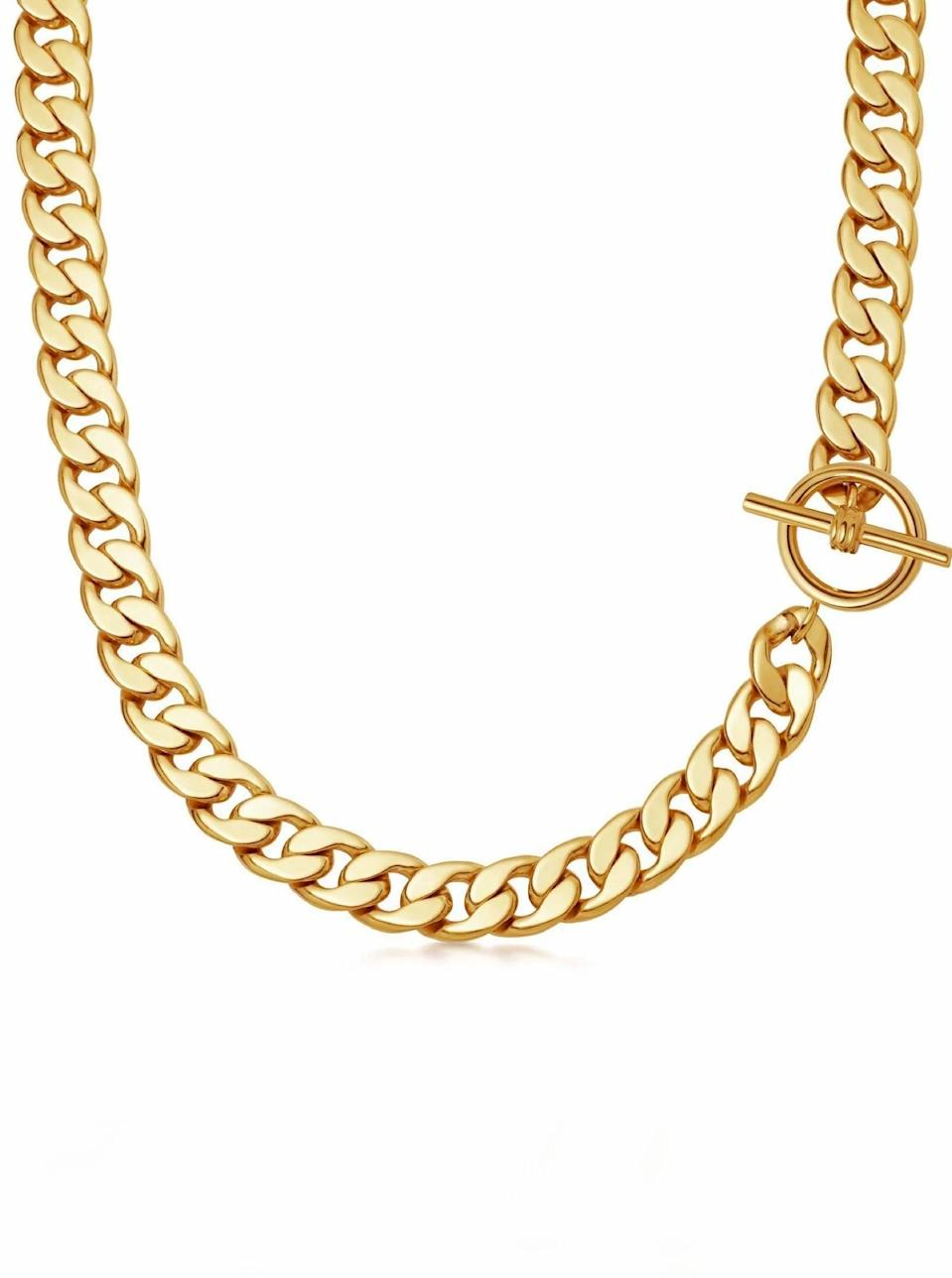 """$420, Missoma. <a href=""""https://www.missoma.com/products/lucy-williams-gold-t-bar-chunky-chain-necklace"""" rel=""""nofollow noopener"""" target=""""_blank"""" data-ylk=""""slk:Get it now!"""" class=""""link rapid-noclick-resp"""">Get it now!</a>"""