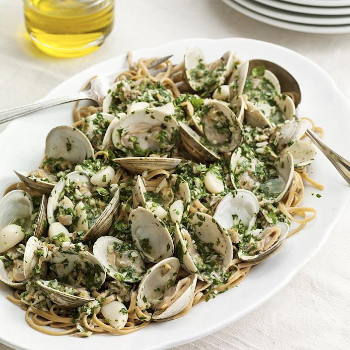 <p>This healthy spaghetti with clam sauce recipe incorporates a few twists that make it extra-delicious. The clams are steamed ahead of time to release their natural juices and create a flavorful clam broth for the base of the garlicky clam sauce. Plus, we use tarragon to add a fabulous hint of anise.</p>
