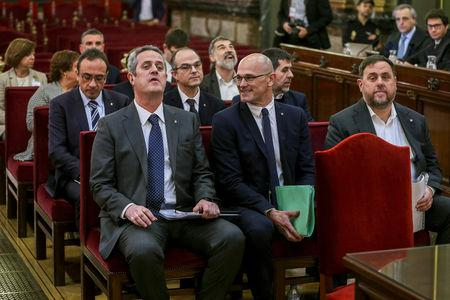 Catalan separatist leaders appear in court at the start of their trial at Supreme Court in Madrid, Spain, February 12, 2019. Emilio Naranjo/Pool via REUTERS