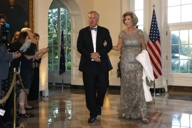 Rep. Mark Meadows, R-N.C., left, and wife Debbie Meadows arrive for a State Dinner with Australian Prime Minister Scott Morrison and President Donald Trump at the White House, Friday, Sept. 20, 2019, in Washington. (AP Photo/Patrick Semansky)
