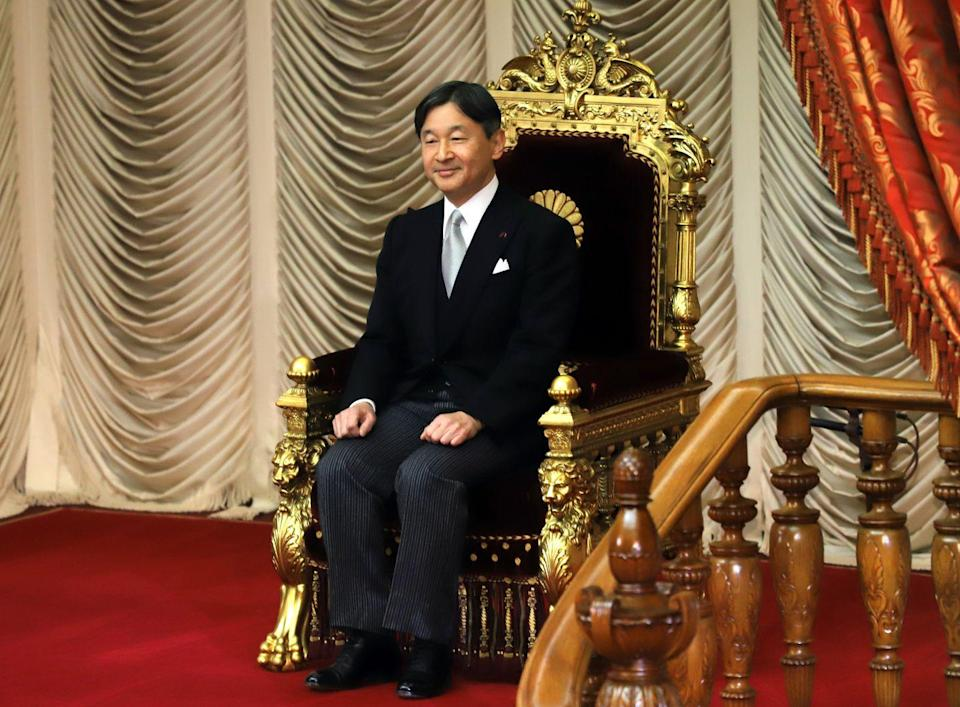 """<p>The current Emperor of Japan, <a href=""""https://www.townandcountrymag.com/society/tradition/a32345961/emperor-naruhito-japan-reign-one-year-anniversary/"""" rel=""""nofollow noopener"""" target=""""_blank"""" data-ylk=""""slk:Naruhito"""" class=""""link rapid-noclick-resp"""">Naruhito</a> is the eldest son of former Emperor Akhito and his wife former Empress Michiko. Seen here at the opening of a session of Japan's parliament in 2020, he has served as the official head of Japan's imperial family since 2019.</p>"""