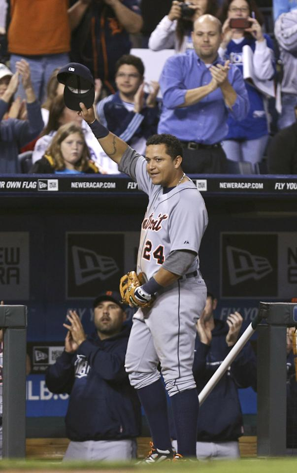 KANSAS CITY, MO - OCTOBER 3:  Miguel Cabrera #24 of the Detroit Tigers waves his cap to the crowd as he leaves a game against the Kansas City Royals in the fourth inning at Kauffman Stadium on October 3, 2012 in Kansas City, Missouri. Cabrera is attempting to become the first player since 1967 to win the Triple Crown. (Photo by Ed Zurga/Getty Images)