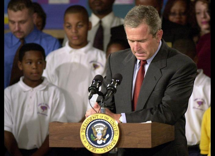 "In an <a href=""http://www.youtube.com/watch?v=QP1K84iRZPo"" target=""_hplink"">address</a> from Emma Booker Elementary School in Sarasota, Florida, President Bush called the attacks ""a national tragedy"" and ""an apparent terrorist attack on our country.""  ""I have spoken to the vice president, to the governor of New York, to the director of the FBI, and have ordered that the full resources of the federal government go to help the victims and their families, and to conduct a full-scale investigation to hunt down and to find those folks who committed this act,"" Bush said.  ""Terrorism against our nation will not stand."""