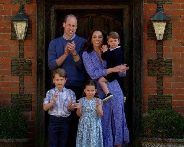 PHOTO: Prince William, Duke of Cambridge, Catherine Duchess of Cambridge, Prince George, Princess Charlotte and Prince Louis clap for NHS carers as part of the BBC Children In Need and Comic Relief 'Big Night In' on April 23, 2020, in London. (BBC Children in Need/Comic Relief via Getty Images, FILE)