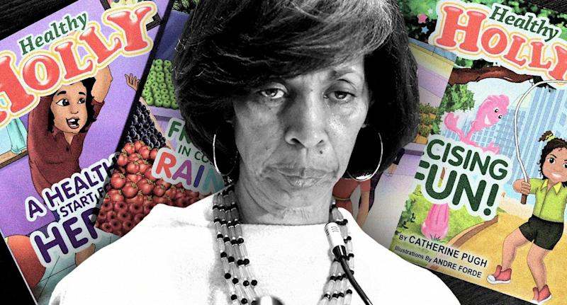 "Mayor Catherine Pugh and her ""Healthy Holly"" books. (Photo illustration: Yahoo News; photos: Amy Davis/Baltimore Sun/TNS via Getty Images, Jerry Jackson/the Baltimore Sun via AP)"