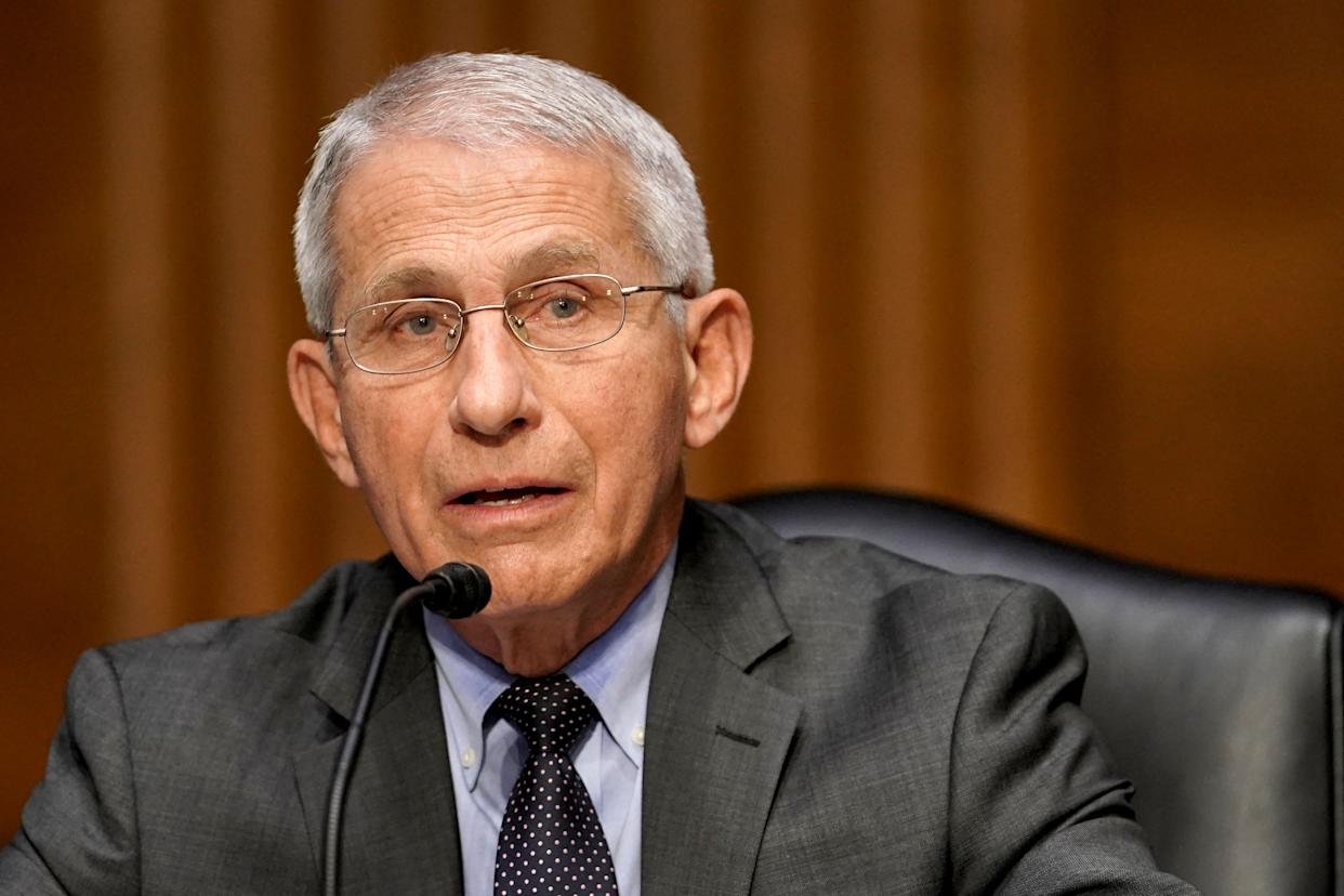 Dr. Anthony Fauci, director of the National Institute of Allergy and Infectious Diseases, speaks during a Senate Health, Education, Labor and Pensions Committee hearing to discuss the on-going federal response to Covid-19 on May 11, 2021 at the US Capitol in Washington, DC. (Photo by Greg Nash / POOL / AFP) (Photo by GREG NASH/POOL/AFP via Getty Images)