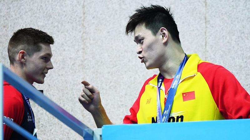 Pictured here, Sun Yang angrily confronts British swimmer Duncan Scott at the 2019 swimming worlds.