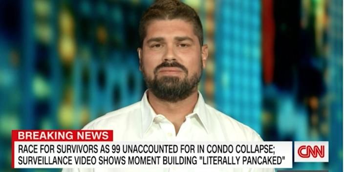 A screengrab of Pablo Rodriguez talking to CNN about the condo collapse.