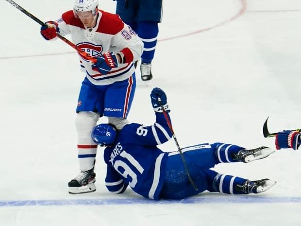 Toronto Maple Leafs captain John Tavares has been discharged from hospital after a frightening collision in Thursday's game against the Montreal Canadiens, and will be out of the playoffs 'indefinitely,' according to the team. (John E. Sokolowski/USA TODAY Sports - image credit)
