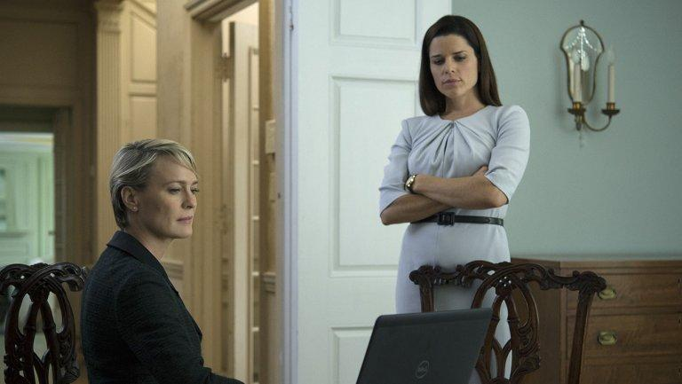 Neve Campbell (right) with Robin Wright in TV's 'House of Cards' (credit: Netflix)