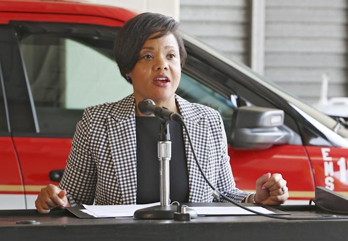 Dr. Mysheika Williams Roberts at a press conference in Columbus, Ohio on August 2, 2018.