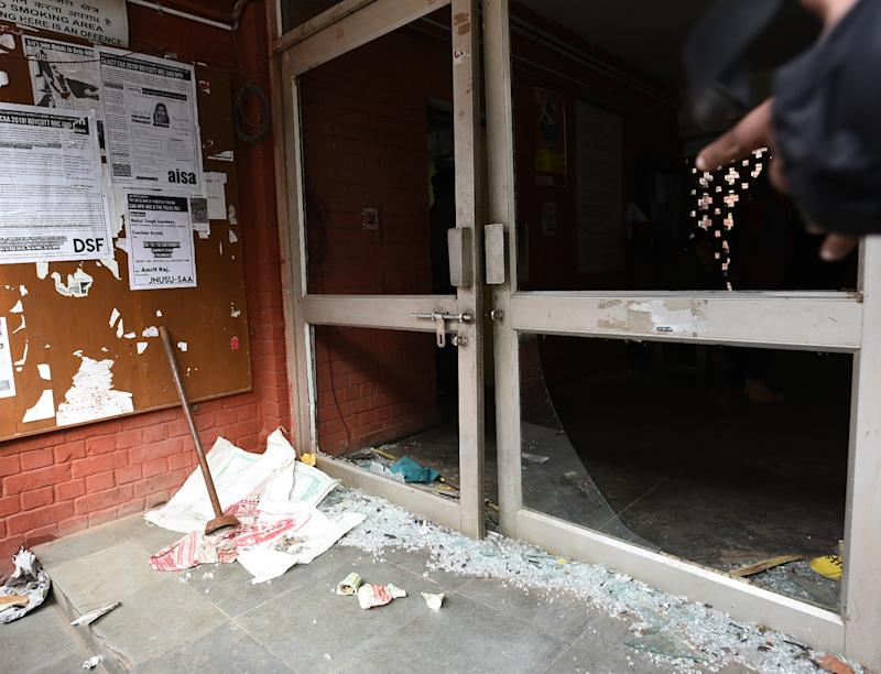 Shards of glass are seen in the premises of Sabarmati Hostel, at Jawaharlal Nehru University (JNU), on Jan. 6, 2020 in New Delhi, India. | Vipin Kumar—Hindustan Times/Sipa USA