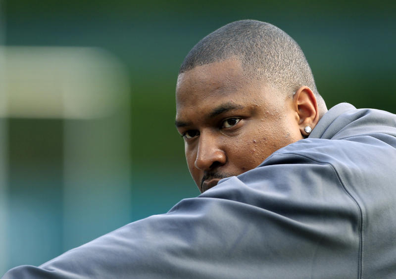 Detroit Tigers' Delmon Young waits to take batting practice before Game 4 of the American League championship series against the New York Yankees Wednesday, Oct. 17, 2012, in Detroit. (AP Photo/Carlos Osorio)