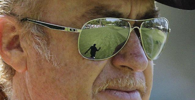 Miguel Angel Jimenez, of Spain, walks down the fourth fairway during the first round of the Masters golf tournament Thursday, April 10, 2014, in Augusta, Ga. (AP Photo/David J. Phillip)