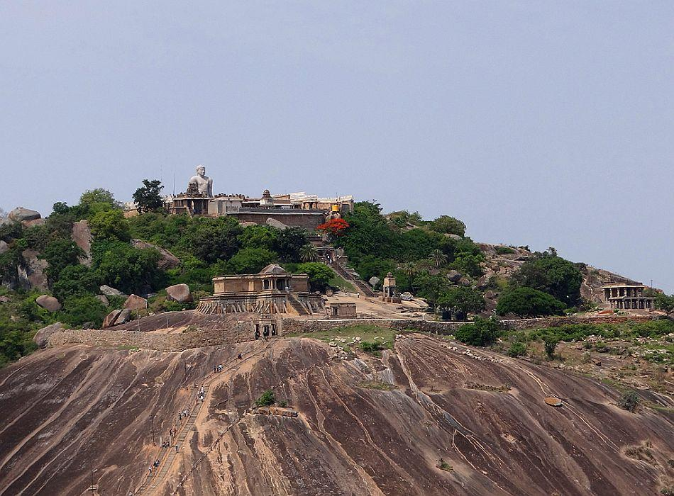 A view of Vindhyagiri, the larger of the two hills.