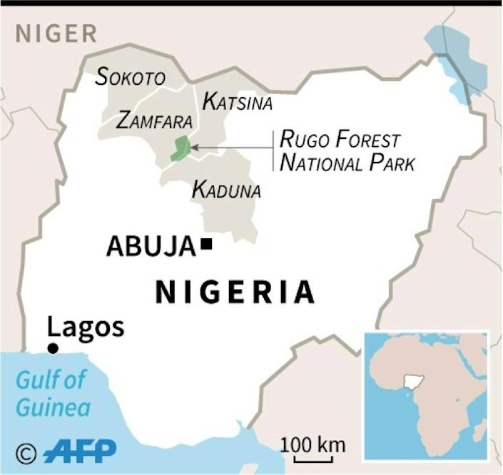 Map locating states in northwestern Zamfara State, where the army is conducting operations against bandits (AFP/Simon MALFATTO)