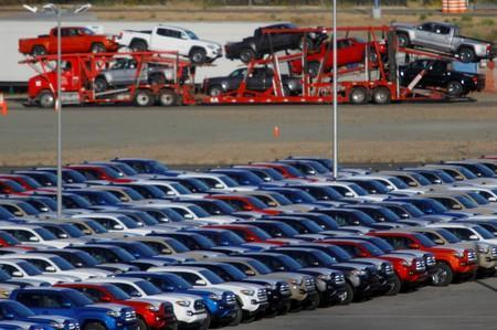 Newly assembled vehicles are seen at a stockyard of the automobile plant Toyota Motor Manufacturing of Baja California in Tijuana
