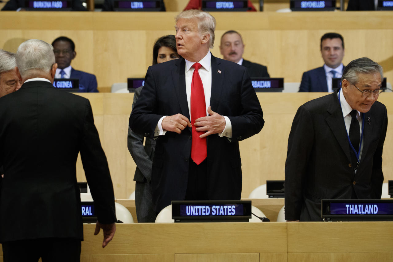 "<p>President Donald Trump arrives for the ""Reforming the United Nations: Management, Security, and Development"" meeting during the United Nations General Assembly, Monday, Sept. 18, 2017, in New York. (Photo: Evan Vucci/AP) </p>"