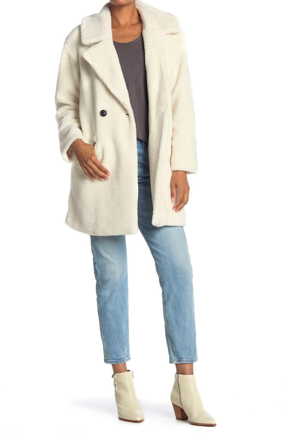 <p>This <span>Lucky Brand Double Breasted Faux Teddy Fur Coat</span> ($45, originally $80) has you covered during your winter outings.</p>