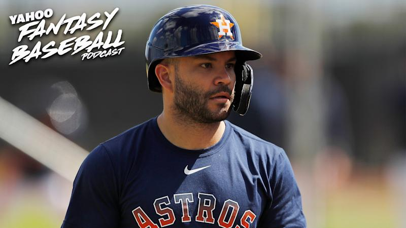 How should fantasy owners grade Houston Astros 2B Jose Altuve? Scott Pianowski & Fred Zinkie discuss how the Astros cheating scandal affects fantasy on the latest Yahoo Fantasy Baseball Podcast. (Photo by Michael Reaves/Getty Images)