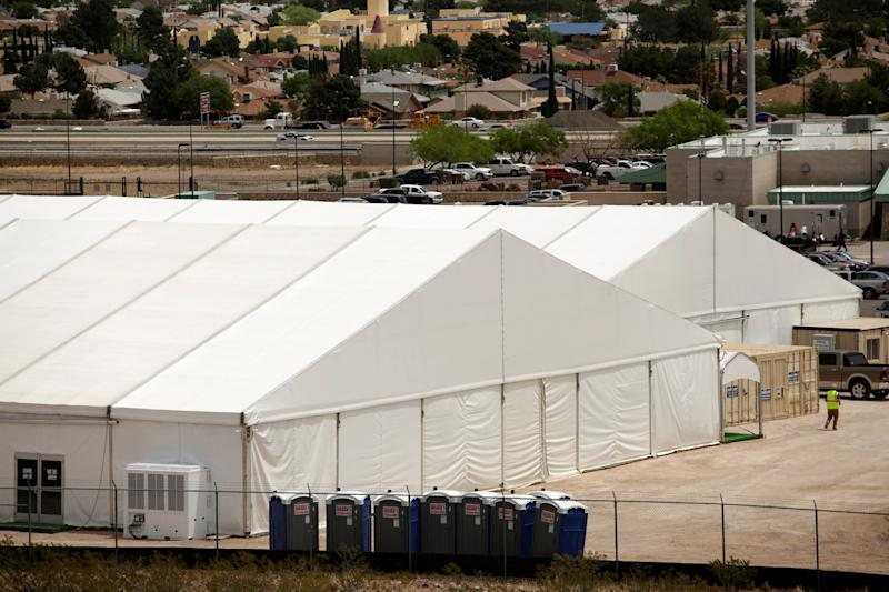 A general view shows a temporary facility for processing migrants requesting asylum, at the U.S. Border Patrol headquarters in El Paso, Texas, U.S. April 29, 2019. (Photo: Jose Luis Gonzalez/Reuters)