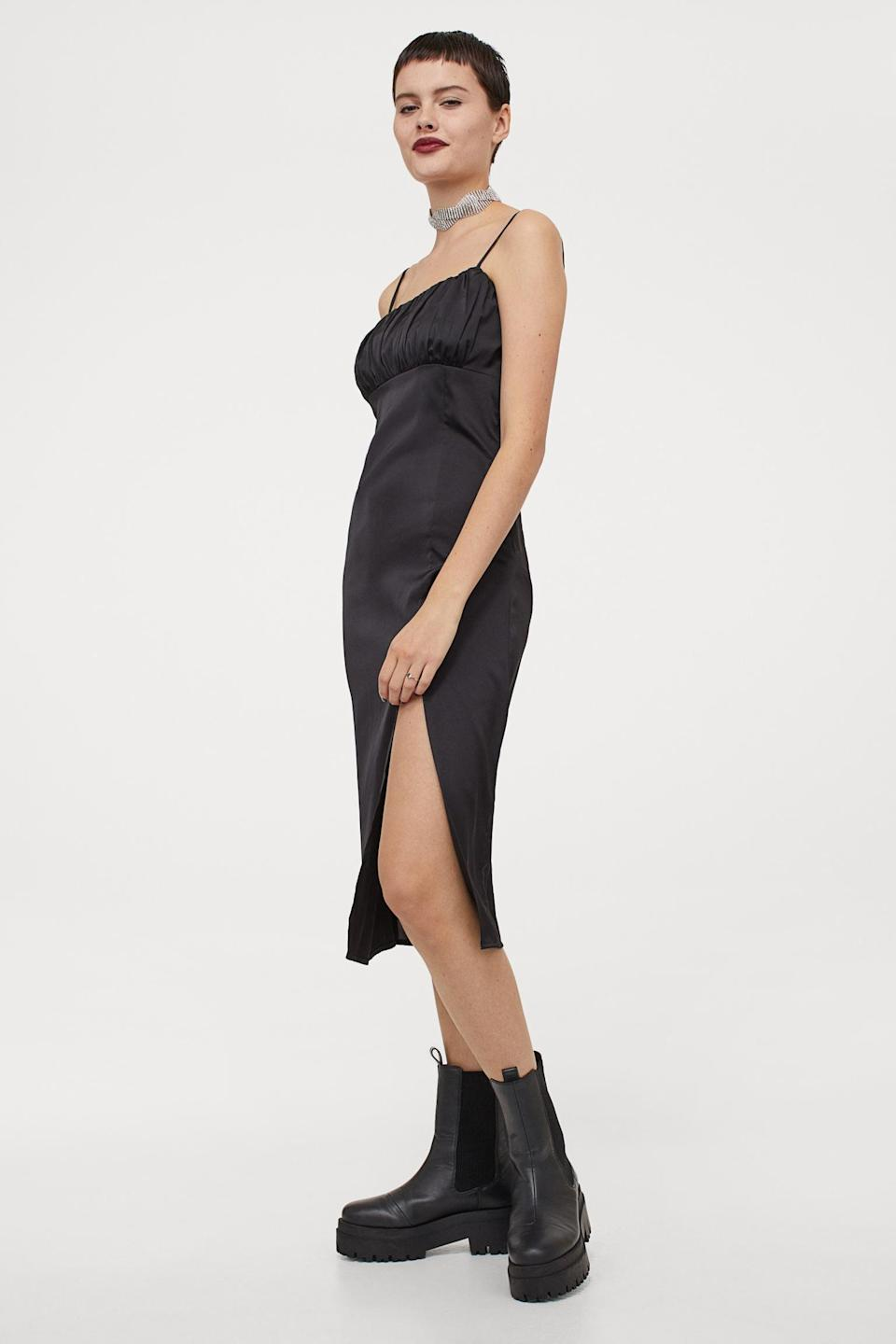 <p>Get Zoom party ready in this elegant <span>Slit-front Dress</span> ($13, originally $30).</p>