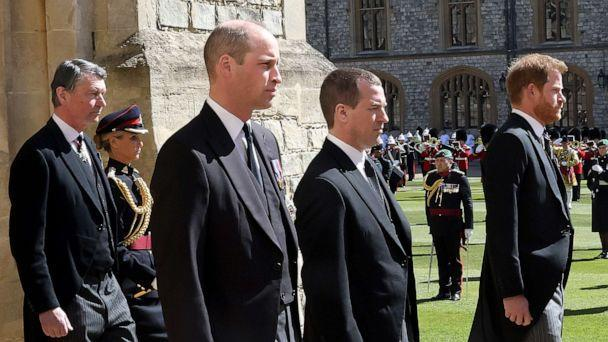 PHOTO: Vice-Admiral Sir Timothy Laurence, Prince William, Duke of Cambridge, Peter Phillips, Prince Harry, Duke of Sussex follow Prince Philip during the Ceremonial Procession at Windsor Castle, April 17, 2021, in Windsor, England. (Chris Jackson/WPA Pool/Getty Images, FILE)
