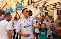 Tottenham supporters in the streets of Madrid. (Photo by Aaron Chown/PA Images via Getty Images)