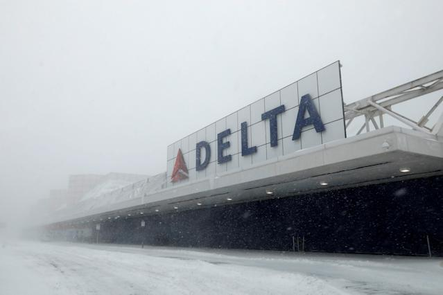 A nearly empty arrivals area of the Delta Airlines terminal is seen at LaGuardia Airport during Storm Grayson in New York City, New York, U.S., January 4, 2018. REUTERS/Mike Segar