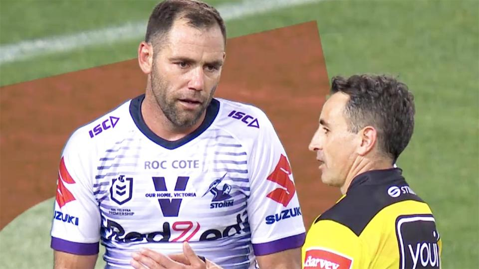 Cameron Smith, pictured here talking to referee Gerard Sutton in the NRL grand final.
