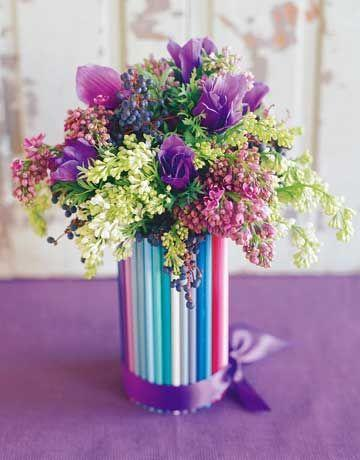 "<p>Magnify the hues of gifts from the garden with a kaleidoscope of colored pencils hot-glued to a glass vase or jar. Let kids fill a vase with your favorite blossoms (we chose purple and white lilacs, anemone, and privet berry) and tie a bow (we used double-faced satin ribbon) around the bottom.</p><p><strong>Plus:</strong><strong> <a href=""https://www.countryliving.com/diy-crafts/how-to/g1009/easy-school-supply-crafts/"" rel=""nofollow noopener"" target=""_blank"" data-ylk=""slk:More Easy School Supply Crafts"" class=""link rapid-noclick-resp"">More Easy School Supply Crafts</a></strong></p>"