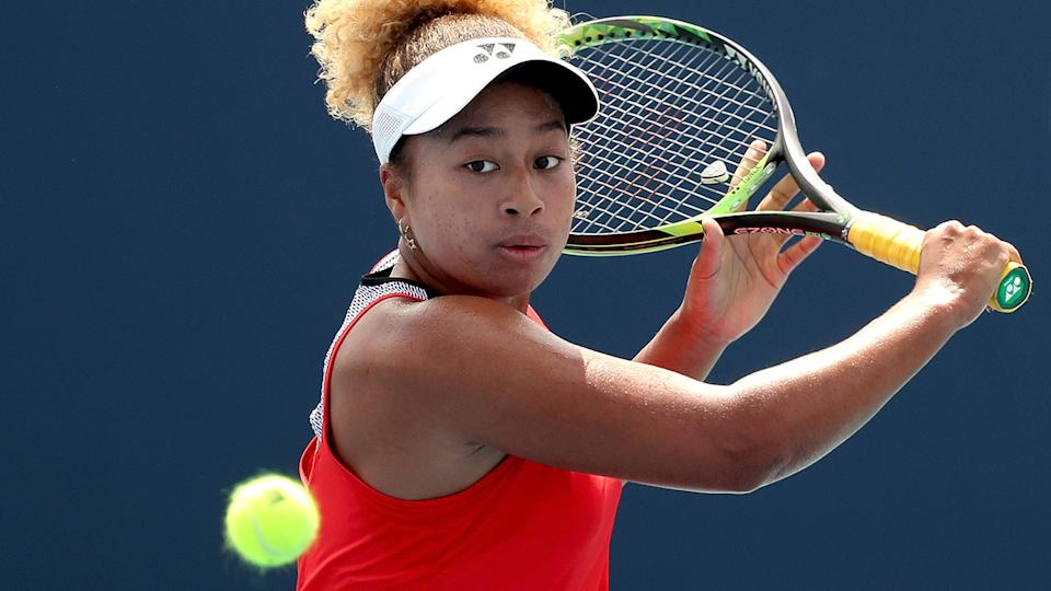 Mari Osaka, pictured here in action at the Miami Open in 2019.